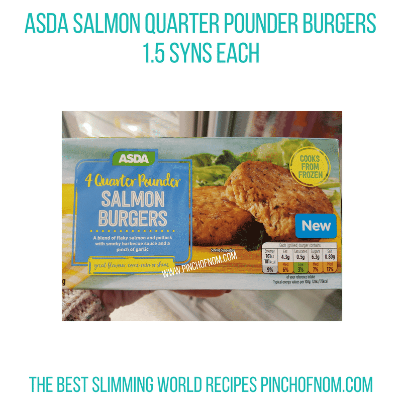 Asda Salmon Burgers - Pinch of Nom Slimming World Shopping Essentials