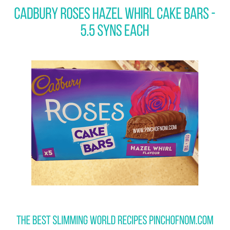 Cadbury Roses Hazel Whirl cake bars - Pinch of Nom Slimming World Shopping Essentials