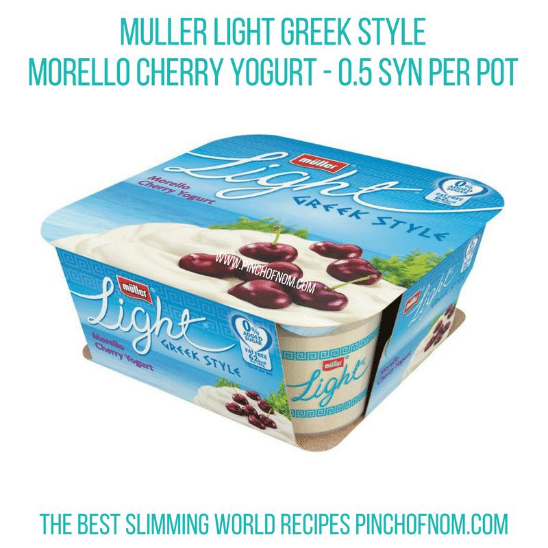 Muller Greek Style Morello Cherry Pinch of Nom Slimming World Shopping Essentials