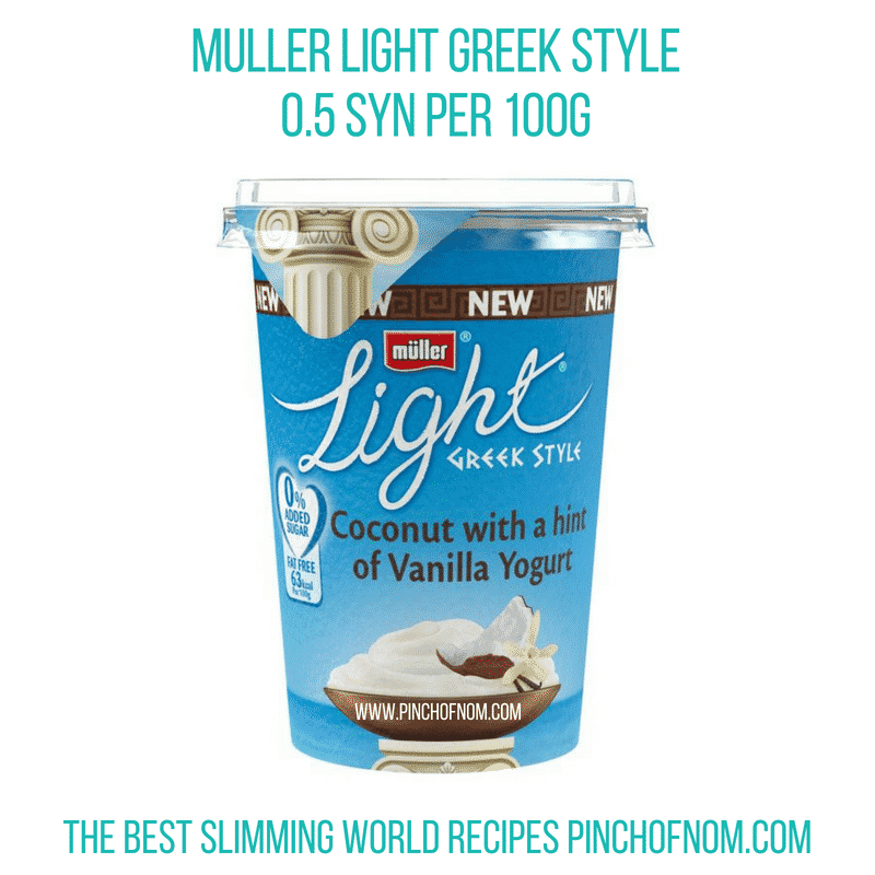 Muller Light Greek Style Coconut with Vanilla - Pinch of Nom Slimming World Shopping Essentials