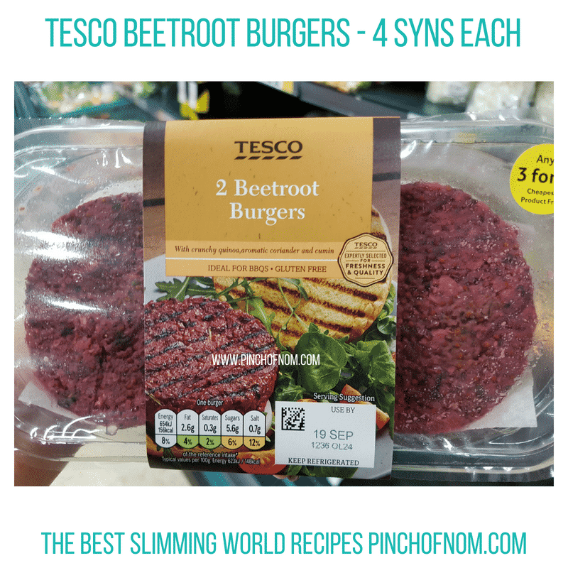 Tesco Beetroot Burgers - Pinch of Nom Slimming World Shopping Essentials