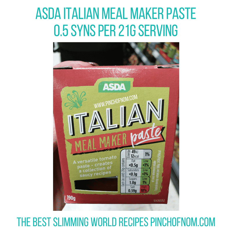 Asda Italian Meal Maker Paste - Pinch of Nom Slimming World Shopping Essentials