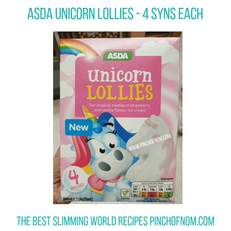 Asda Unicorn Lollies - Pinch of Nom Slimming World Shopping Essentials
