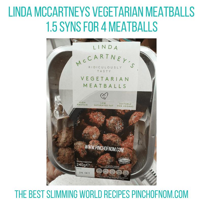 Linda McCartneys Veg Meatballs - Pinch of Nom Slimming World Shopping Essentials