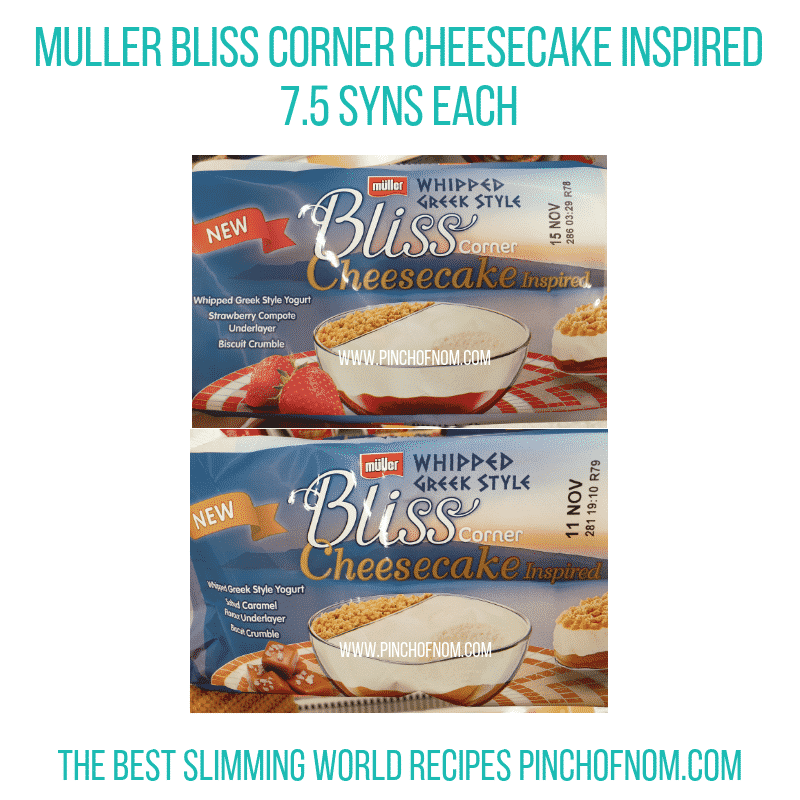 Muller Bliss Cheesecake Corner - Pinch of Nom Slimming World Shopping Essentials