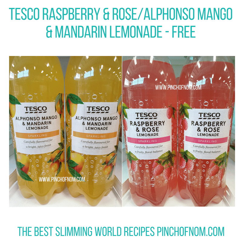 Tesco sparkling Lemonades - Pinch of Nom Slimming World Shopping Essentials