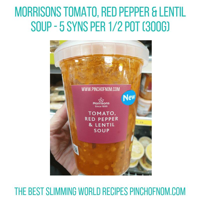 Morrisons Red Pepper Lentil Soup - Pinch of Nom Slimming World Shopping Essentials