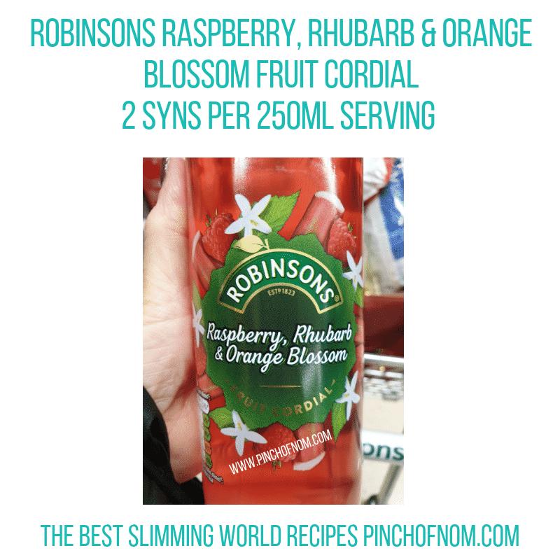 Robinsons Raspberry Rhubarb Orange Cordial - Pinch of Nom Slimming World Shopping Essentials