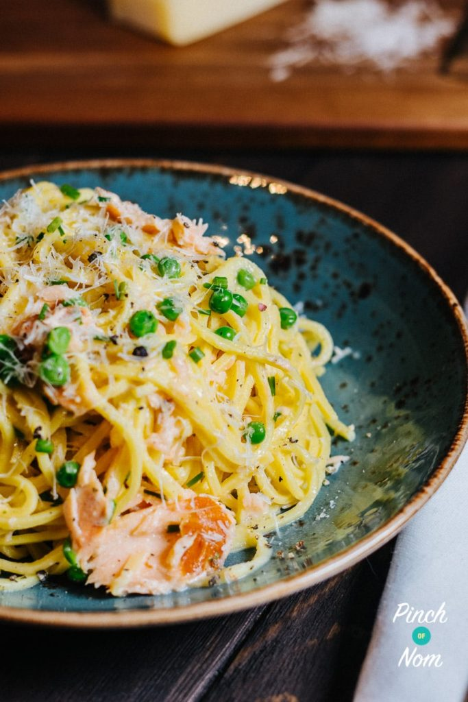 Smoked Salmon Spaghetti Carbonara | Slimming & Weight Watchers Friendly