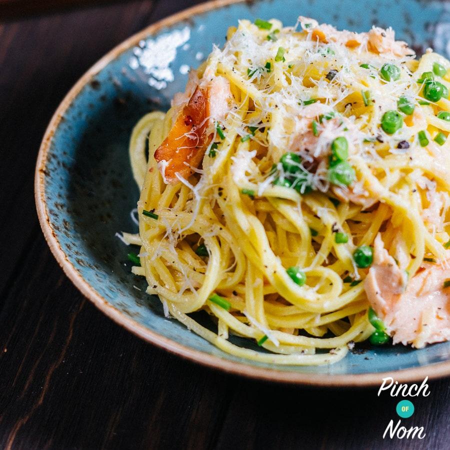 Smoked Salmon Spaghetti Carbonara pinchofnom.com