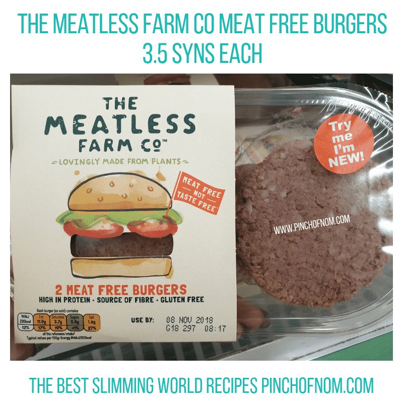 The Meatless Meat Free Burgers - Pinch of Nom Slimming World Shopping Essentials