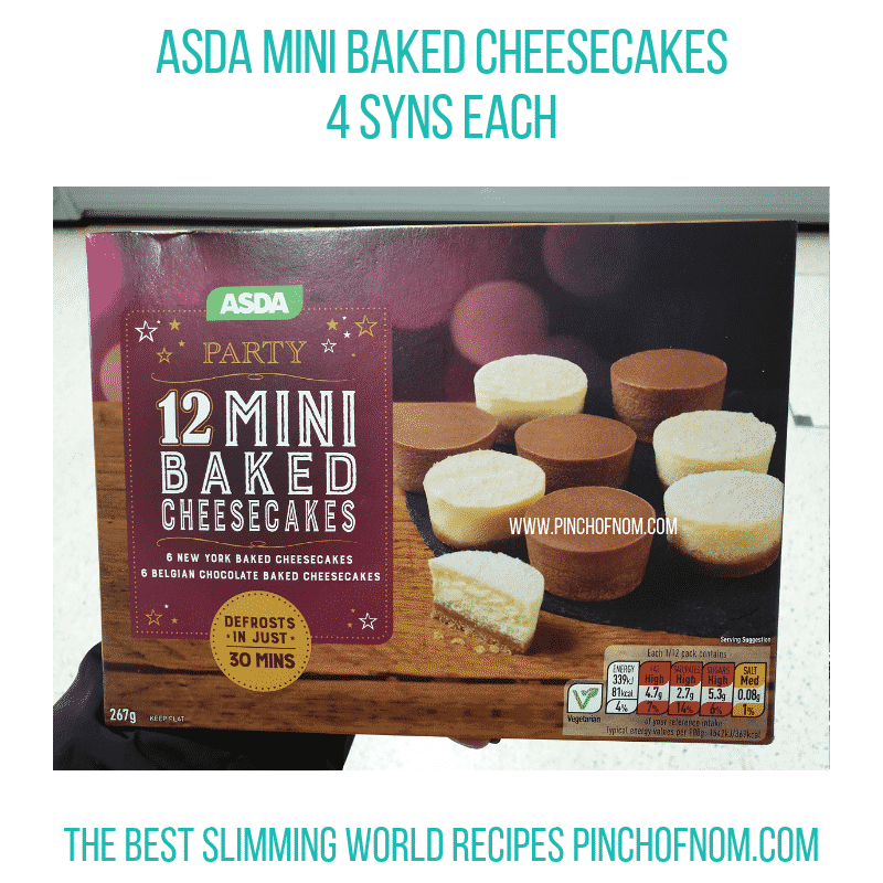 Asda Mini Baked Cheesecakes - Pinch of Nom Slimming World Shopping Essentials