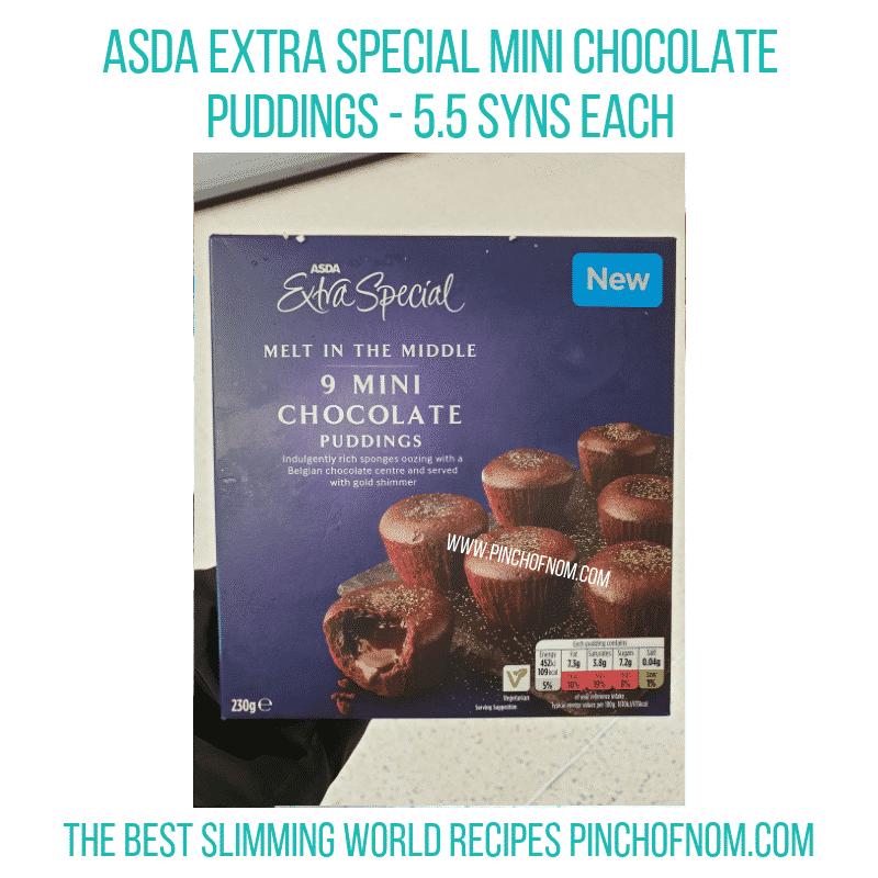 Asda Mini Choc Puddings - Pinch of Nom Slimming World Shopping Essentials