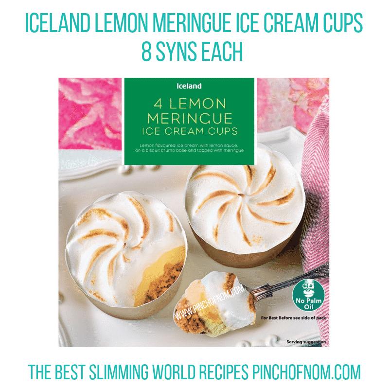Iceland Lemon Meringue Ice Cream cups - Pinch of Nom Slimming World Shopping Essentials