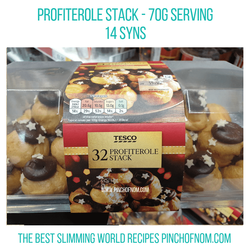 Tesco Profiterole Stack - Pinch of Nom Slimming World Shopping Essentials