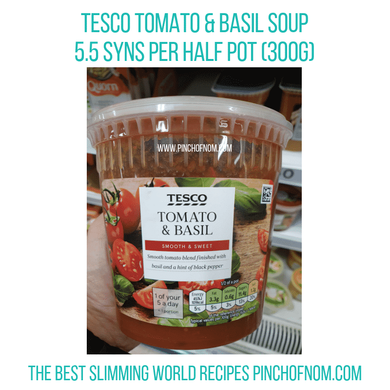 Tesco Tomato Basil soup - Pinch of Nom Slimming World Shopping Essentials