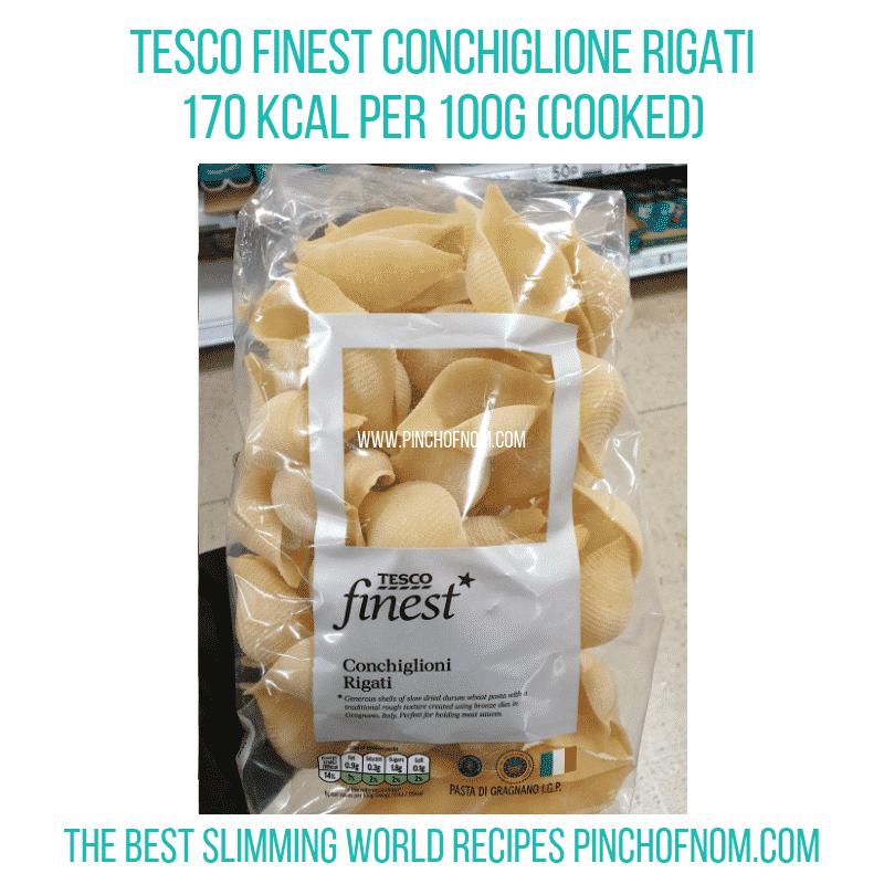 Tesco Conchiglione Rigati - Pinch of Nom Slimming World Shopping Essentials
