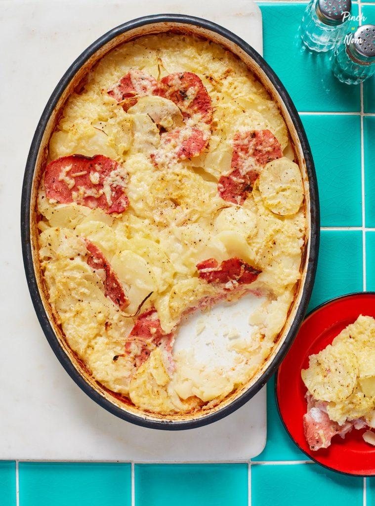 Bacon, Onion and Potato Bake pinchofnom.com