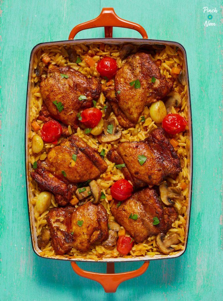 One Pot Mediterranean Chicken Orzo pinchofnom.com