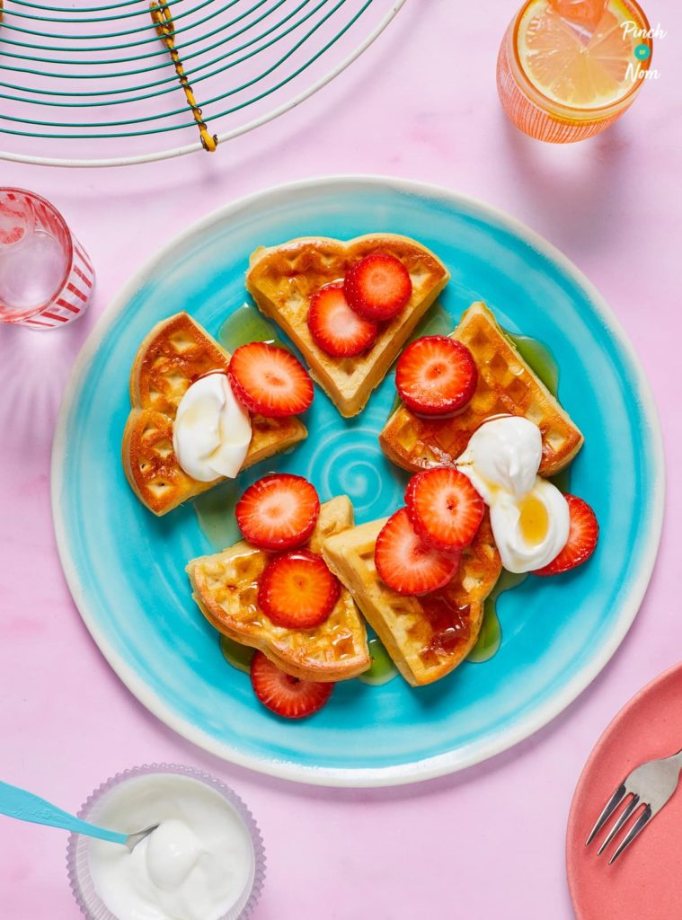 Strawberry and Vanilla Waffles pinchofnom.com