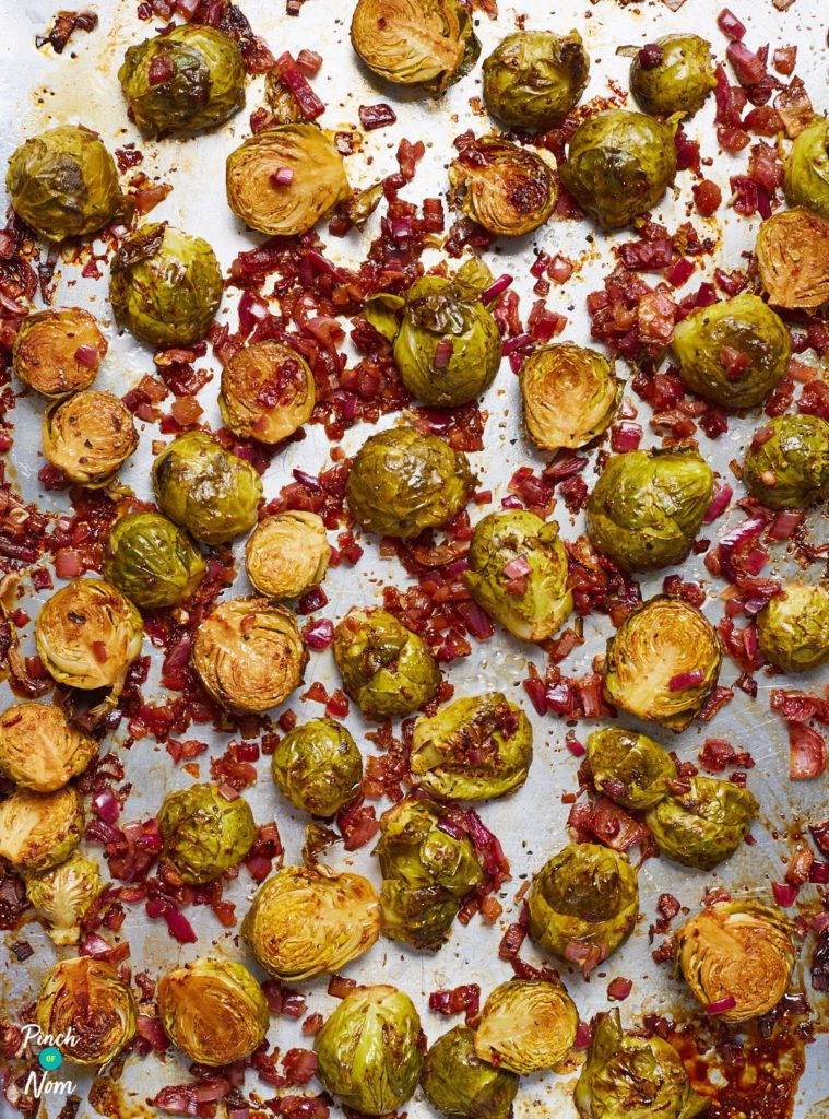 Balsamic Roasted Sprouts pinchofnom.com